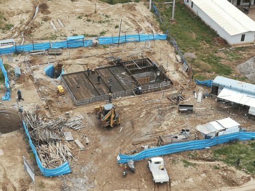 BioKube sewage treatment plant BioReactor under installation at a new Sports village in Bolivia