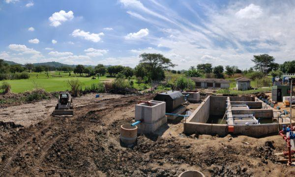 BioKube BioReactor systems under installation in Zimbabwe. The system is built next to a golf corse and the treated water will be used for watering greens and fairways