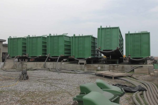 Sludge dewatering containers at Lavender Hill Ghana